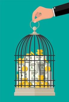 Klatka dla ptaków pełna złotych monet i banknotów. oszczędność monety dolara w skarbonce. wzrost, dochody, oszczędności, inwestycje. symbol bogactwa. sukces w interesach. ilustracja wektorowa płaski.