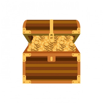 Klatka piersiowa z monetami na białym tle ikona