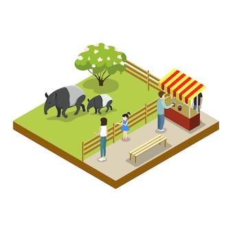 Klatka z izometryczną ikoną 3d tapira