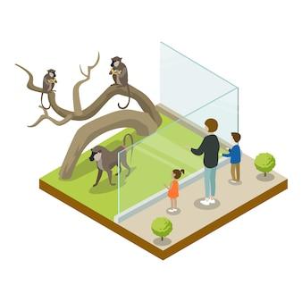 Klatka z małpią izometryczną ikoną 3d