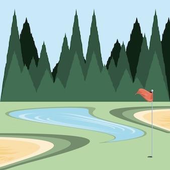 Klątwa golfowa z pułapką na piasek i jeziorem