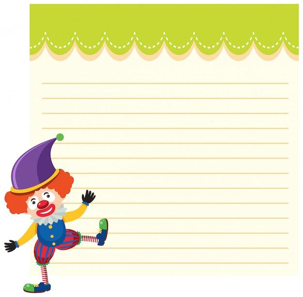 Klaun cyrkowy na szablonie notatki