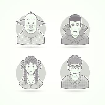 Klaun cyrkowy, strój wampira, wygląd uczennicy, kujon. zestaw ilustracji postaci, awatarów i osób. czarno-biały styl konturowy.