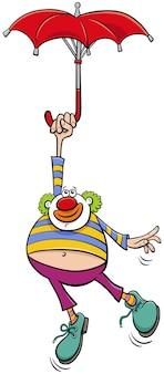 Klaun cyrkowy z parasolem ilustracja kreskówka