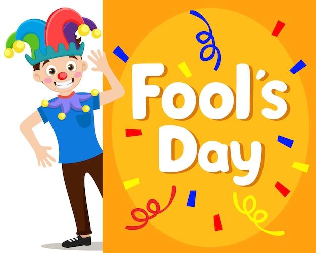 Klaun joker na białym tle i kopia przestrzeń. karta dnia głupców