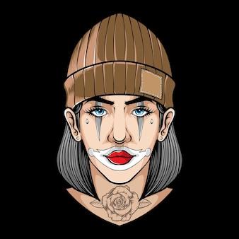 Klaun kobiety z różanym tatuażem