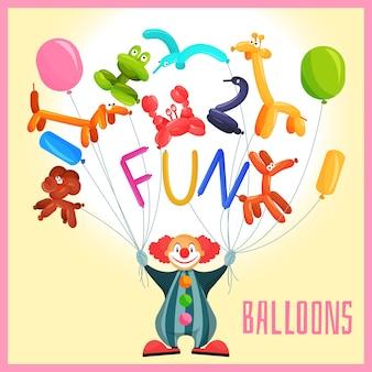 Klaun z balonami