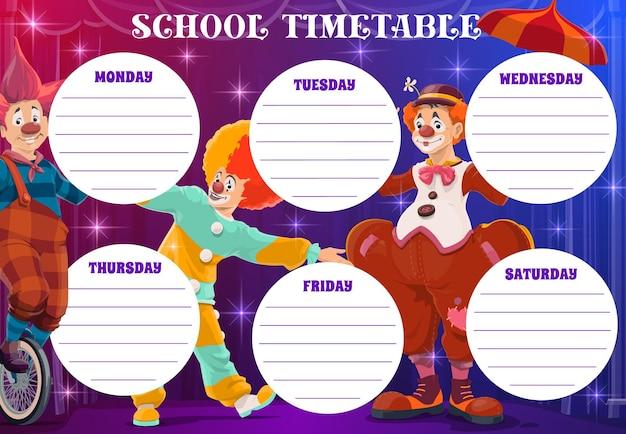 Klauni cyrkowi na szkolnym planie lekcji, tygodniowy planer
