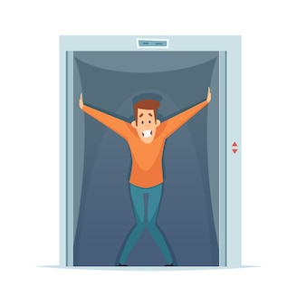 Klaustrofobia. przestraszony mężczyzna w windzie, strach przed ograniczoną przestrzenią. ilustracja wektorowa fobii psychicznej. strach klaustrofobii, kosmiczna mała winda