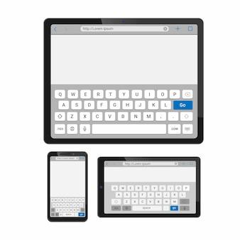 Klawiatura dotykowa klawiatury smartfona i tabletu wpisująca szablon interfejsu przeglądarki
