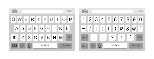 Klawiatura smartfona alfabet i cyfry klawiatury