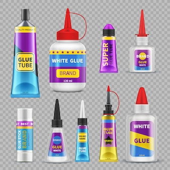 Klej. samoprzylepne tubki i butelki z klejem. realistyczne na białym tle wektor zestaw
