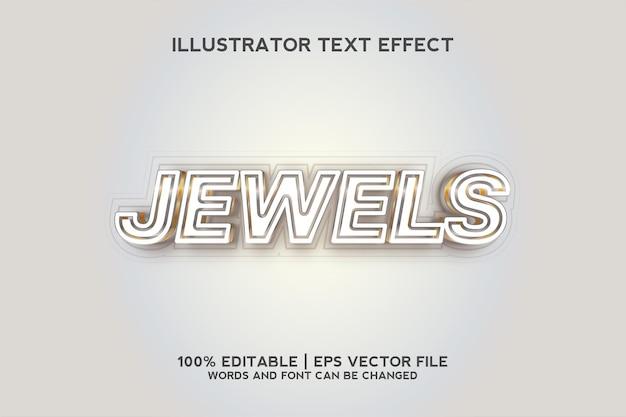 Klejnoty biały i złoty szablon efektu tekstowego