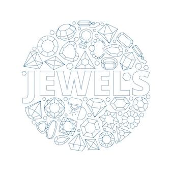 Klejnoty w tle. okrągły kształt z luksusowymi diamentowymi bransoletkami z klejnotami i błyszczącymi pierścionkami z kolekcji klejnotów