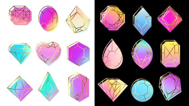 Klejnoty z gradientami. kamień jubilerski, abstrakcyjne kolorowe kształty geometryczne i modny diament symbole hipster zestaw