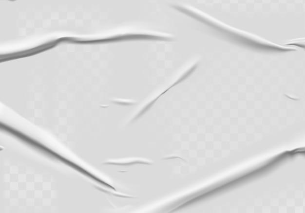 Klejony papier z efektem mokrego przezroczystego pomarszczenia na szarym tle. szablon plakat biały mokry papier z zmiętą teksturą.