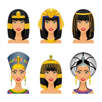 Kleopatra egipska królowa. kobieta starożytnych, historia i twarz, portret nefertiti, ilustracji wektorowych