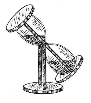 Klepsydra. antyczny zegar. czarno-białe ręcznie rysowane szkic ilustracji na białym tle. klepsydra odwraca się