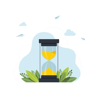 Klepsydra. koncepcja czasu nowoczesna płaska koncepcja projektowania strony internetowej zarządzania czasem. płaski szablon strony docelowej. wektor. ilustracja wektorowa