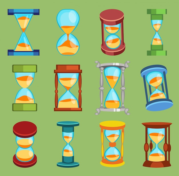 Klepsydra zegarki czas szkło narzędzia zestaw ikon, czas klepsydra piasek zegar płaski projekt historia drugi stary obiekt ilustracja zegary piaskowe klepsydra zegar minuta minuta zegarek odliczanie miara przepływu