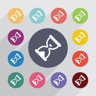 Klepsydra, zestaw ikon płaski. okrągłe kolorowe guziki. wektor