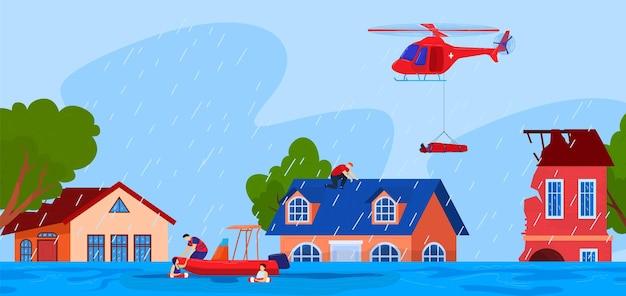 Klęska żywiołowa, wypadek, ilustracja niebezpieczeństwo.