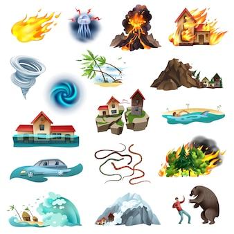 Klęski żywiołowe, sytuacja zagrażająca życiu, kolekcja kolorowych ikon z pożarem lasu tornado zalewającego jadowite węże