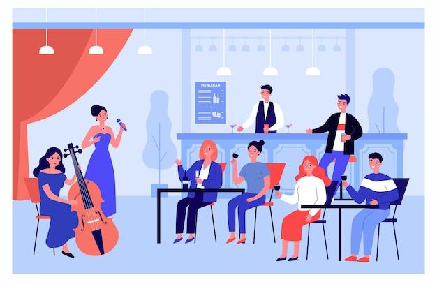 Klienci cieszący się winem i muzyką na żywo w barze. wokalistka wykonująca piosenkę, muzyk grający na wiolonczeli płaskie wektor ilustracja. rozrywka, koncepcja muzyczna banera, projekt strony internetowej lub strona docelowa