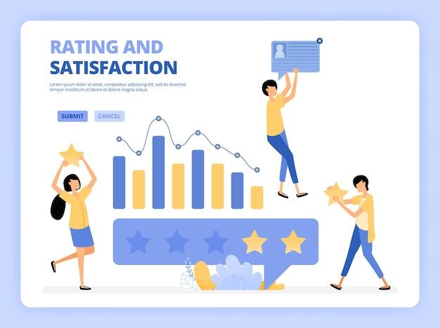 Klienci dają ilustrację pięciogwiazdkowego rankingu