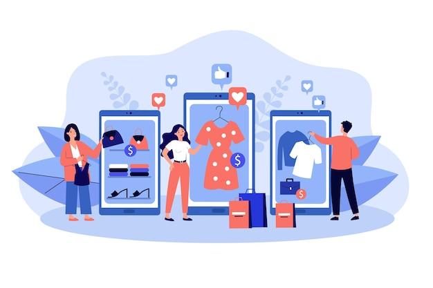 Klienci dokonujący zakupów w sklepach internetowych. młodzi nabywcy używający urządzeń mobilnych z aplikacjami i smartfonami