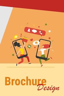 Klienci dzielący się referencjami i zarabiający. użytkownicy telefonów komórkowych rozmawiają, wymieniają się prezentami. ilustracja wektorowa do polecania znajomego, poleceń, programu lojalnościowego, koncepcji marketingowej