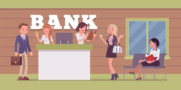 Klienci i konsultanci w biurze banku