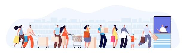 Klienci oczekują w kolejce. postacie klienta, sprzedawca w sklepie internetowym lub kasjer. kolejka w sklepie spożywczym, ilustracja wektorowa supermarketu. kupujący czeka, konsument na rynku i kupujący