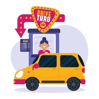 Klienci przyjmujący zamówienia przejeżdżają przez znak