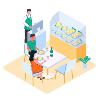 Klienci są obsługiwani w izometrycznej restauracji