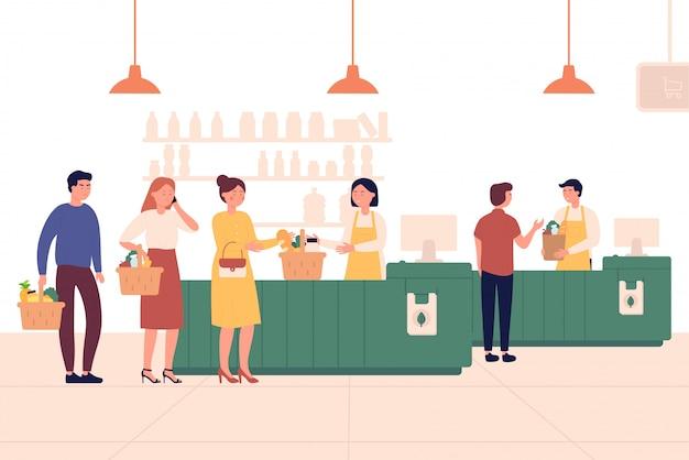 Klienci stojący w kolejce lub w kolejce do kasjera w supermarkecie. koncepcja zakupów. ludzie stać w kolejce w sklepu detalicznego rynku ilustraci.