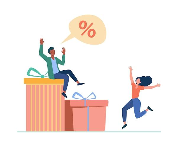 Klienci świętują sezon rabatowy. para tańczy w pudełkach prezentów, ilustracja płaski znak procentu.