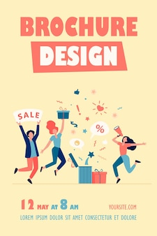 Klienci świętują szablon ulotki sprzedaży
