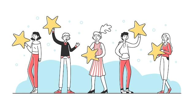 Klienci trzyma przeglądowe gwiazdy ilustracyjne