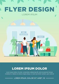 Klienci w sklepie z modą. kobiety wybierają ubrania w sklepie płaski wektor ilustracja. zakupy, sprzedaż, koncepcja sprzedaży detalicznej dla banera, projektu strony internetowej lub strony docelowej