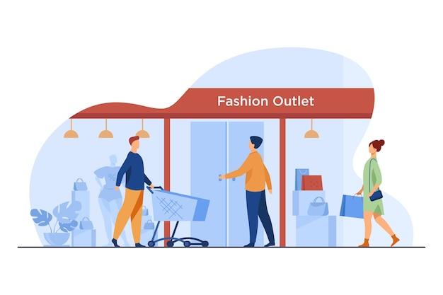 Klienci wchodzący do outletu z modą. kupujący, wejście, wózek, ilustracja wektorowa płaskie okno. konsumpcjonizm, zakup odzieży, koncepcja sprzedaży detalicznej