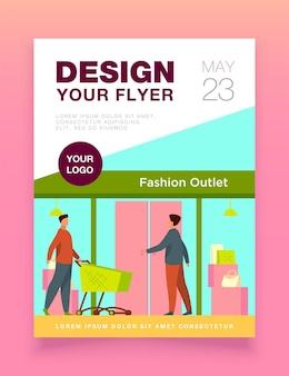 Klienci wchodzący do szablonu ulotki outletu mody