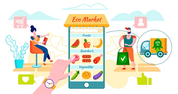 Klienci zamawiający ekologiczne jedzenie przy użyciu aplikacji mobilnej.