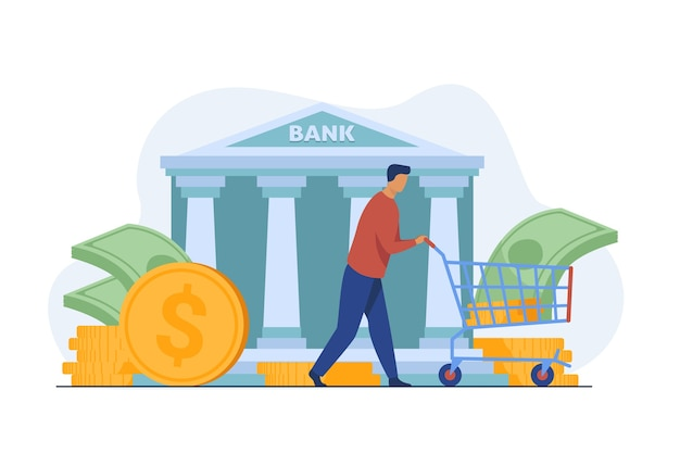 Klient banku otrzymujący pożyczkę. wózek kołowy człowieka z ilustracji wektorowych płaski gotówki. finanse, pieniądze, bankowość, usługi