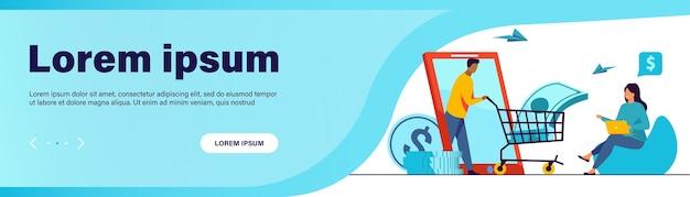 Klient banku otrzymuje pożyczkę online. mężczyzna jeżdżący wózek z gotówką z ekranu gadżetu do płaskiej ilustracji wektorowych kobiety