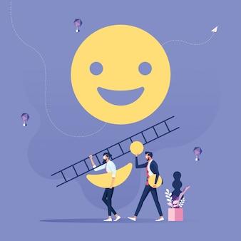 Klient dokonuje przeglądu lub opinii na temat jakości usługi - koncepcja opinii konsumentów