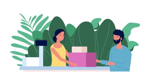 Klient i kasjer. koncepcja zakupów. płaski mężczyzna robi zakupy przy kasie. uśmiechnięta dziewczyna kasjerka, sklep ilustracji wektorowych. kobieta kasjer w sklepie, klient z zakupem