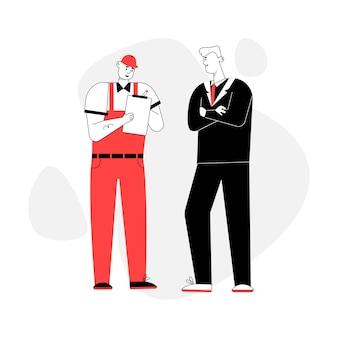 Klient i mechanik samochodowy sporządzają umowę naprawy samochodu na białym tle.