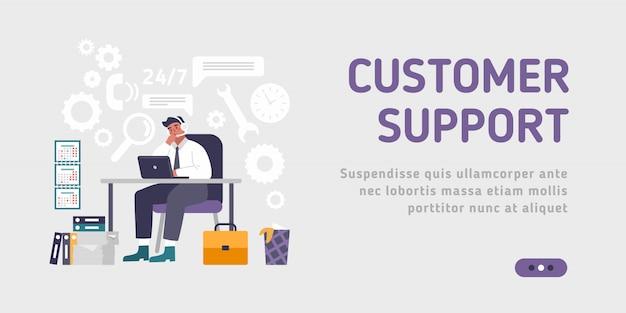 Klient i operator szablonu strony docelowej, wsparcie techniczne online 24-7 dla strony internetowej. ilustracja mężczyzna infolinii doradza klientowi. asystent online