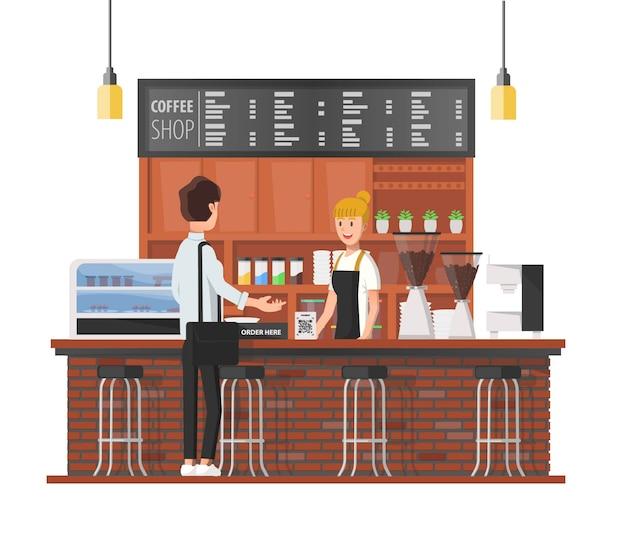 Klient kawiarni rozmawia z baristką
